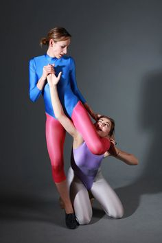 Armbar - fighting in the studio in gymnastic leotards and leggings. Image set - commission work.