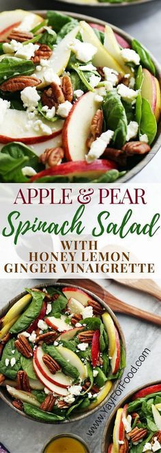 A healthy and delicious fall salad featuring crisp sweet apple and pear, creamy and salty feta cheese, and crunchy pecans! A homemade dressing perfectly compliments this quick-to-make salad. Salad   Healthy Salads   Vinaigrette   Vegetarian   Gluten-Free   Fall Recipes   Autumn