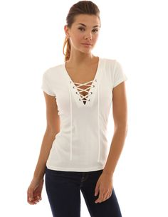 PattyBoutik Women's V Neck Lace Up Short Sleeve Blouse * Be sure to check out this awesome product.