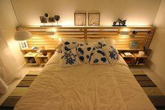 Muebles de Palets: Dormitorio de matrimonio decorado con palets y cajas de fruta