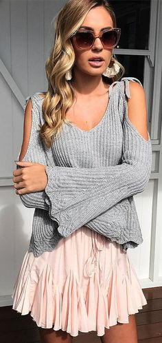 #outfits #summer Grey Cold Shoulder Knit + gonna rosa