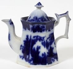 VICTORIAN FLOW BLUE COFFEE POT MID 19TH C.