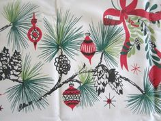 Atomic Christmas Tablecloth 50s Mid Century