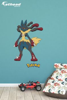 """At 36""""W x 51""""H, this Mega Lucario removable vinyl wall decal from Fathead is huge and it stays up on its own with a low-tac adhesive that won't damage your walls. SHOP Pokémon wall murals and wall graphics at http://www.fathead.com/kids/pokemon/mega-lucario-wall-decal/ 