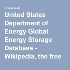 United States Department of Energy Global Energy Storage Database - Wikipedia, the free encyclopedia