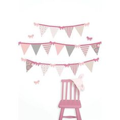 Cute pink pennant flag wall art DIY valentines day decor idea girls room decor idea Hailey Pennant Kit Wall Decals - WallPops for Baby Peel and Stick Wall Art