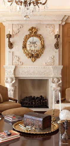 Custom Hand Carved Stone Mantle