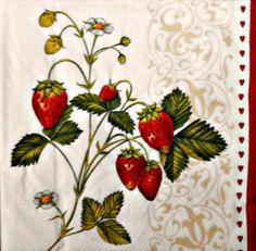 4  Servietten 33 - 33 cm. Erdbeeren von Nerikunst auf DaWanda.com