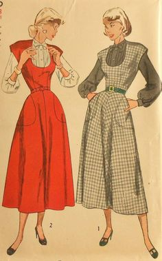 Vintage 50s Jumper Dress and Blouse Sewing Pattern