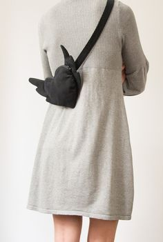Black Velour Cotton Heart Bag Purse Flying Heart Hipster by Marewo, $39.00
