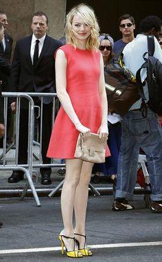 celebrity fashion #summer #pink #salmon #dress #yellow #peeptoe #shoes #heels #emmastone