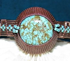 Aztec Turquoise Copper Wire Woven Bracelet-Copper Woven Bracelet-Wire Woven-Copper Wire Woven Bracelet  I made this as a custom order for a