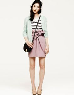 Cardigans: a study in proportion.  The longer cardi balances the high waist. Love love love the mint, stripes, and blush.