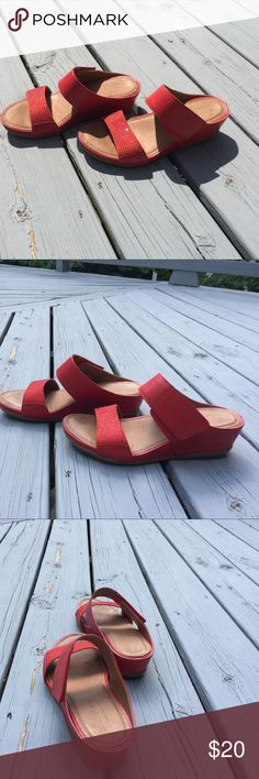 Montana artisan crafted slides Red sandals, two straps across foot, one with adjustable Velcro closure, one with 11 rows of tiny ruby stones across toes, like new. montana Shoes Sandals