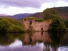 This once fine castle on an island in Loch An Eilian is Sinking into the loch. An eerie plane of dungeons and treachery. Near Aviemore Scotland.