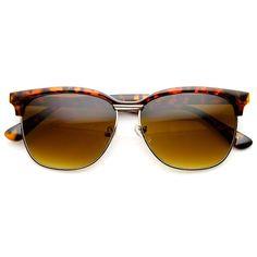 Modified Half Frame Semi-Rimless Classic Horn Rimmed Sunglasses