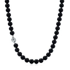 Ziegfeld Collection necklace of black onyx beads with a sterling silver clasp.