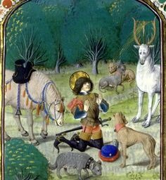 Saint Hubert - the patron saint of hunters (also in Germany) Medieval Horse, Medieval Art, Medieval Clothing, Catholic Saints, Patron Saints, Medieval Manuscript, Illuminated Manuscript, 15th Century Clothing, Renaissance