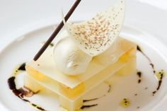 A divine pear and Roquefort mousse from Michelin starred chef Phil Thompson, which successfully teases the taste buds with its sweet and savoury aspect.