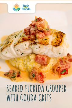 This melt-in-your-mouth Pan-Seared Grouper with Smoked Gouda G. This melt-in-your-mouth Pan-Seared Grouper with Smoked Gouda Grits & Tomato Bacon Gravy is so good, it's insane. Grouper Recipes, Fish Recipes, Seafood Recipes, Gourmet Recipes, New Recipes, Dinner Recipes, Cooking Recipes, Favorite Recipes, Healthy Recipes