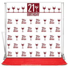 Hollywood Themed 21st Birthday Party. Red Carpet Entrance kit includes plush runner carpet, full color vinyl step & repeat banner, telescopic banner stand with carrying case, and fast delivery anywhere in USA. Perfect for red carpet birthdays!