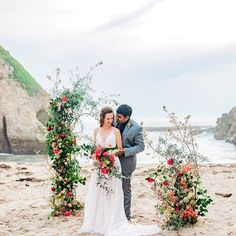 floral installation for an outdoor wedding ceremony #weddingceremony #weddingdesign #floralarch Beach Wedding Bouquets, Beach Theme Wedding Invitations, Beach Wedding Centerpieces, Beach Wedding Reception, Beach Ceremony, Wedding Ceremony, Wedding Venues, Beach Weddings, Wedding Ideas