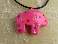 Frosted Animal Cracker Necklace, Pink Animal Cracker Necklace, Animal Cracker Necklace, Pink Animal Cracker Charm, Sprinkle Animal Cracker by SamsSweetArt on Etsy