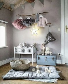 Whimsical decoration for your kids room Chic Nursery, Nursery Room, Nursery Decor, Lilac Nursery, Room Decor, Kids Room Design, Nursery Design, Baby Bedroom, Girls Bedroom