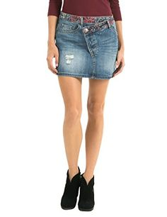 Desigual Women's Woven Short Skirt with Oblique Belt Line, Denim Medium Wash, 38 -- For more information, visit image link.