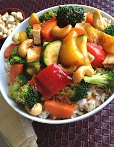 Fresh Broccoli and Vegetable Teriyaki Stir-Fry with Cashews (vegan and gluten-free)