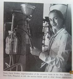 Nurse and Suction aparatus 1955. ---   Wow!  It always amazes me to see obsolete equipment like this.