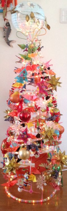 Unusual, up-cycled, (tomato cage) alternative Christmas tree/decor Pamela Reinhardt