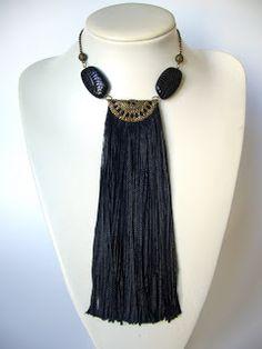 Black Fringe Necklace by Mimi Scholer