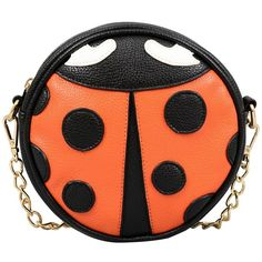 Ladybug Crossbody ($25) ❤ liked on Polyvore featuring bags, handbags, shoulder bags, orange, orange purse, orange handbags, shoulder strap handbags, orange cross body purse and chain strap purse