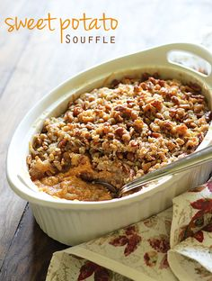 Low Carb Recipes To The Prism Weight Reduction Program Sweet Potato Souffl With A Buttery Pecan Coconut Topping A Perfect Fall Dessert Sweet Potato Souffle, Sweet Potato Pecan, Sweet Potato Casserole, Sweet Potato Recipes, Potato Cassarole, Thanksgiving Desserts, Holiday Desserts, Holiday Meals, Thanksgiving Ideas