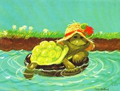 Vintage 70s Suzys Zoo Card Floating Turtle Suzy Spafford