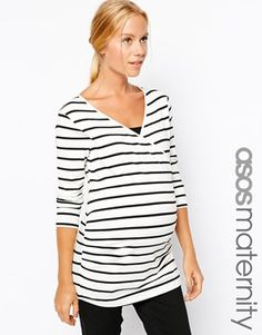 *lovely nursing shirt,  one of my favs* ASOS Maternity NURSING Wrap Top In Stripe With 3/4 Sleeve