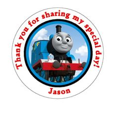 Thomas the Train Birthday Thank You Favor Stickers - Thomas the Tank. $6.00, via Etsy.
