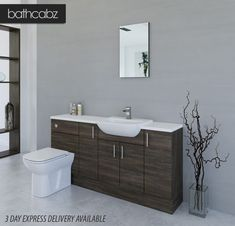 """Bathroom Furniture Fitted Find out how adapted appliance cast Hammonds compares to its rivals Sharps and Sliderobes, as able-bodied as John Lewis and Ikea. [[caption id="""""""" Cupboard Drawers, Drawer Shelves, Fitted Bathroom Furniture, Box Bedroom, Angled Ceilings, Woodworking Books, Furniture Deals, Small Bathroom, Home Decor"""