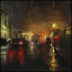 Cityscapes, oil paintings by Jeremy Mann - Nocturne #6 - Oil on Panel - 12 x 12 inches - The John Pence Gallery (www.redrabbit7.com)
