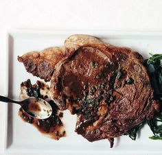 Pair Rib-Eye Steaks in Red-Wine Sauce with a light green salad for a simple, satisfying supper.