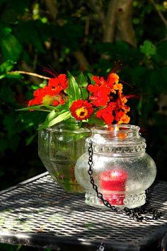 Vintage glass candle holder repurposed globe jar by StellaErwins
