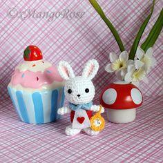 White Rabbit from Alice in Wonderland Doll Amigurumi Plush Toy (Crochet Pattern Only, Digital Download) Alice's Adventures in Wonderland by xMangoRose on Etsy https://www.etsy.com/listing/271764500/white-rabbit-from-alice-in-wonderland