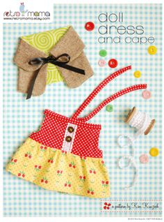 Doll Dress & Cape PDF Sewing Pattern | Retro Mama