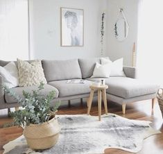 We love this serene space that has created featuring our Studio seat modular sofa with chaise, now on sal Grey Chaise Lounge, Couch With Chaise, Rugs In Living Room, Home And Living, Living Room Decor, Living Room With Grey Sofa, Grey Couch Decor, Grey Couches, Modular Couch