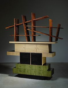 Available for sale from Friedman Benda, Ettore Sottsass, Cabinet No. 54 Amaranthe lattice, natural and black-stained Japanese ash, green- stained o… Memphis Milano, 1980s Design, Memphis Design, Design Movements, Canadian Art, Innovation Design, Industrial Design, Vintage Industrial, Household Items