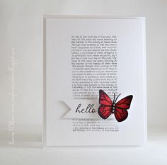 Lovely white based butterfly card.  Greeting could be changed for anything eg Happy Birthday, Thinking of you