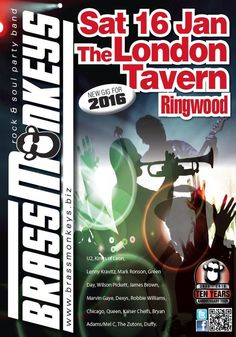 PictuBrassMonkeys Live at The London Tavern Sat 16 Jan 2016re Chicago Tours, Mark Ronson, Bryan Adams, Lenny Kravitz, Marvin Gaye, Green Day, Rock And Roll, Posters, London