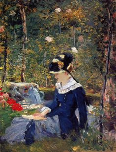 artishardgr:  Edouard Manet - Young Woman in the Garden 1880