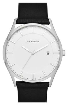 Skagen 'Holst' Leather Strap Watch, 40mm